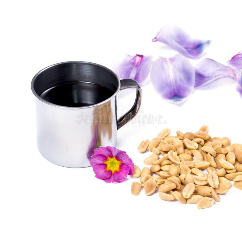 钢杯子、花生和丁香瓣 免版税库存图片