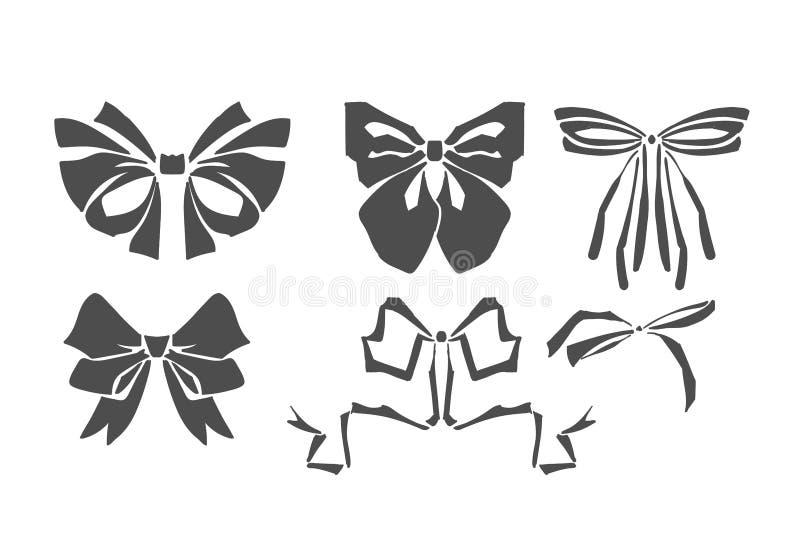钢板蜡纸传染媒介锦缎鞠躬集合丝带设计元素 向量例证
