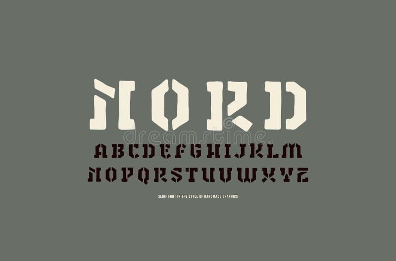 钢板蜡纸板材仿照手工制造图表样式的细体字体 皇族释放例证