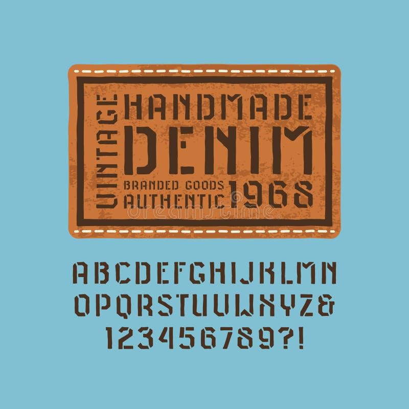 钢板蜡纸板材仿照手工制造图表样式的Sans Serif字体 库存例证