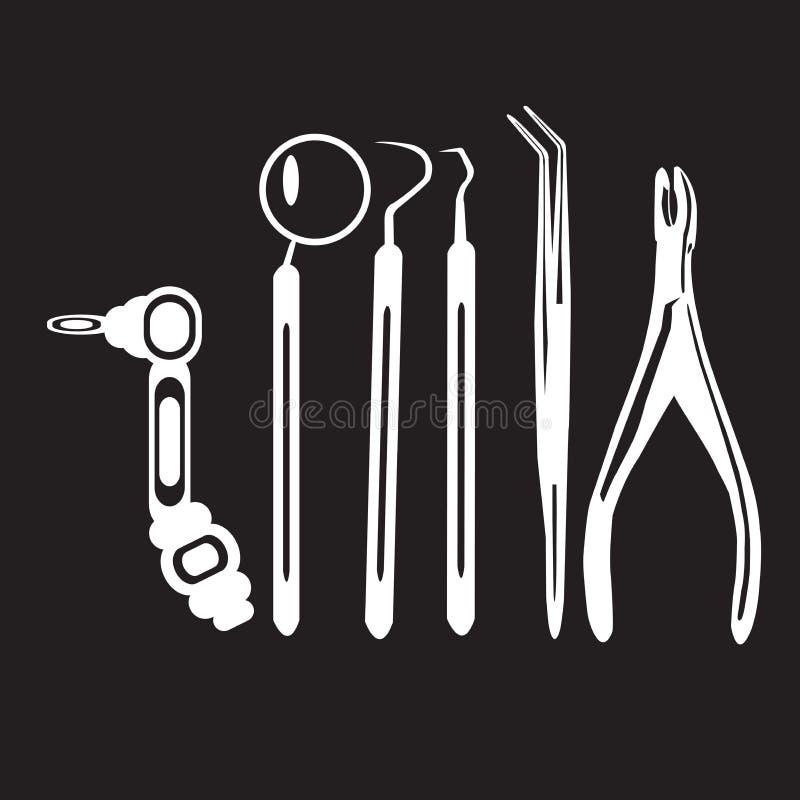 钢板蜡纸牙医工具 库存例证