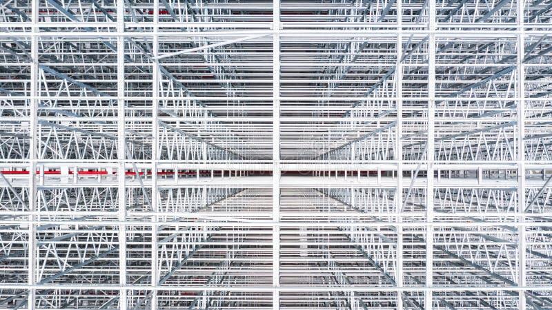钢楼房建筑空中顶视图结构,金属化钢制框架楼房建筑设计,鸟瞰图 免版税库存图片
