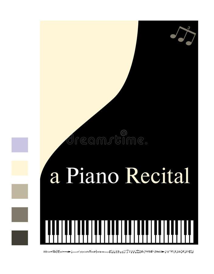 钢琴吟诵的海报 库存例证