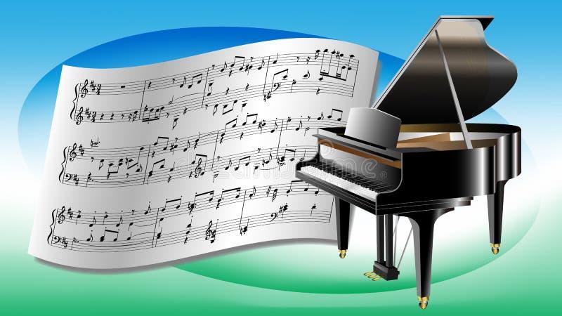 钢琴和活页乐谱 皇族释放例证