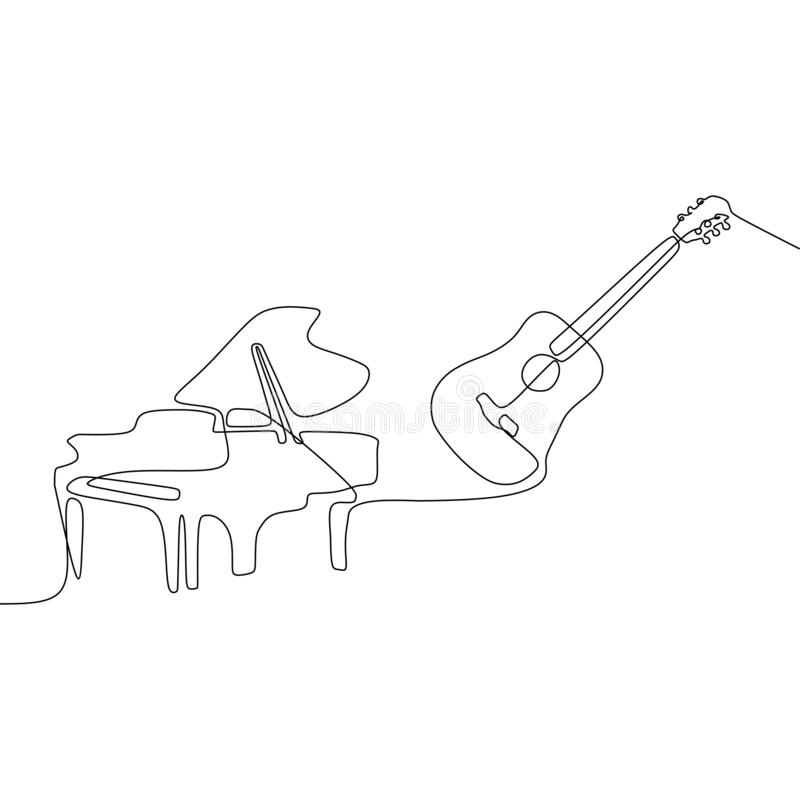 钢琴声学吉他一线乐器乐队动画片例证  皇族释放例证
