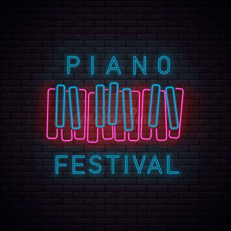 钢琴标志氖 库存例证