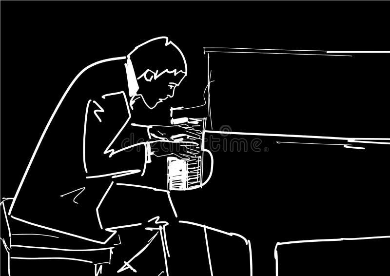 钢琴演奏家弹钢琴 向量 向量例证