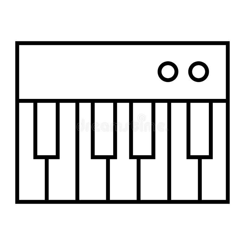 钢琴玩具稀薄的线象 键盘在白色隔绝的传染媒介例证 音乐玩具概述样式设计,设计为 库存例证