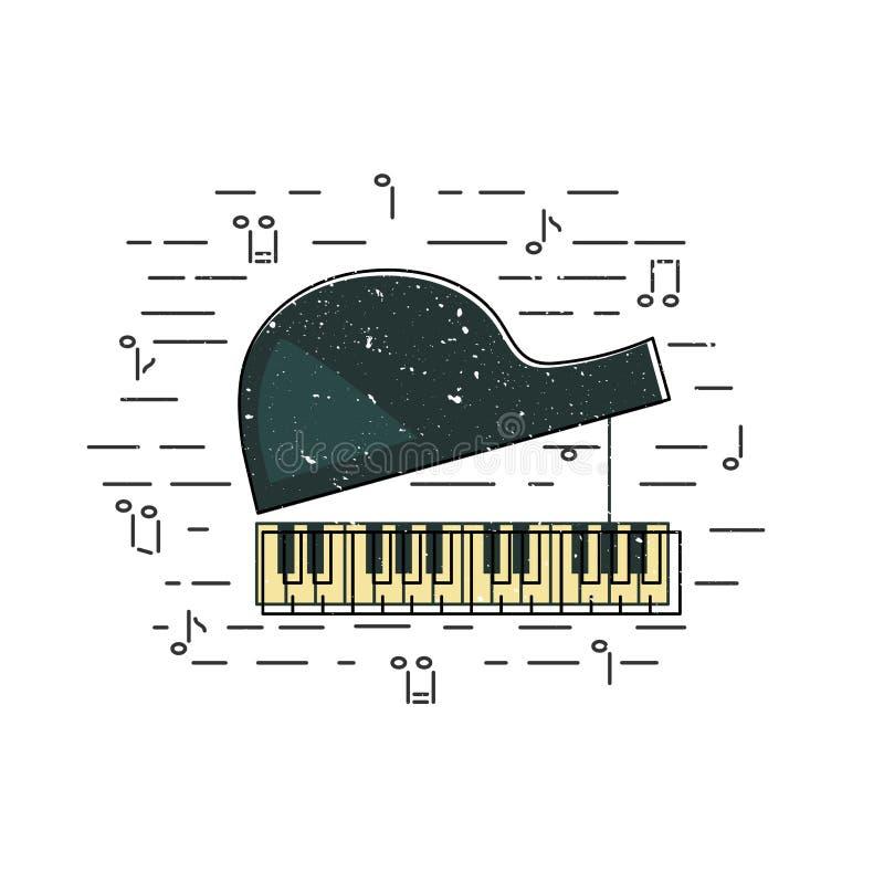 钢琴象被隔绝的背景 库存例证