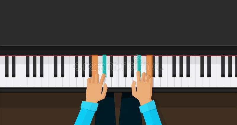 钢琴钥匙用学会戏剧弦传染媒介例证,平的动画片琴键教训应用程序的人手为 向量例证