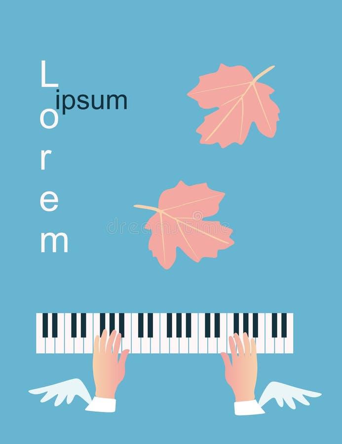 钢琴音乐会的海报 抽象文本 在钢琴钥匙上的飞过的手和在天蓝色背景的落的桃红色荚莲属的植物叶子 向量例证