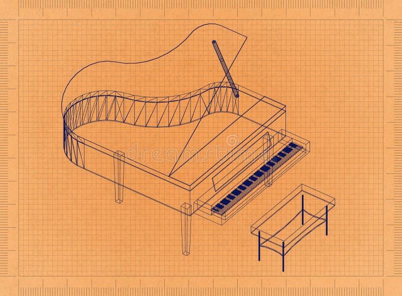 钢琴-减速火箭的图纸 向量例证