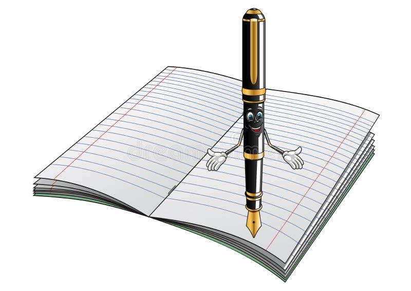 钢笔与笔记本的漫画人物 库存例证