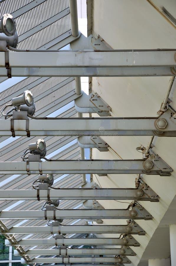 钢结构建筑透视图线路 库存图片