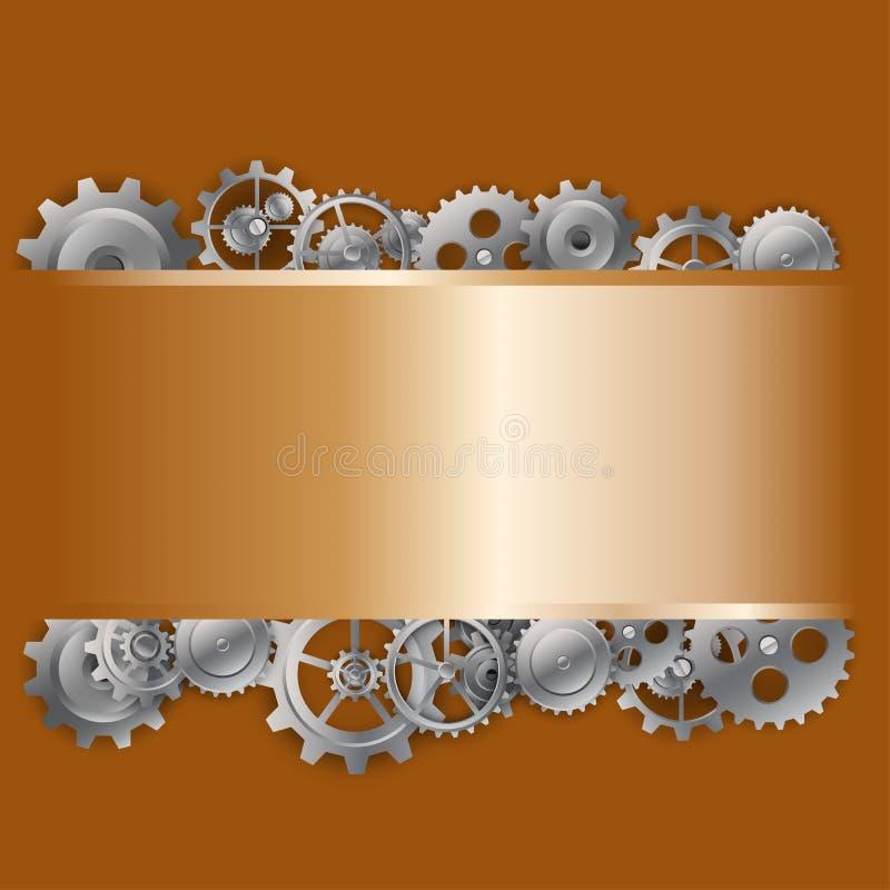 钢背景和链轮 库存例证