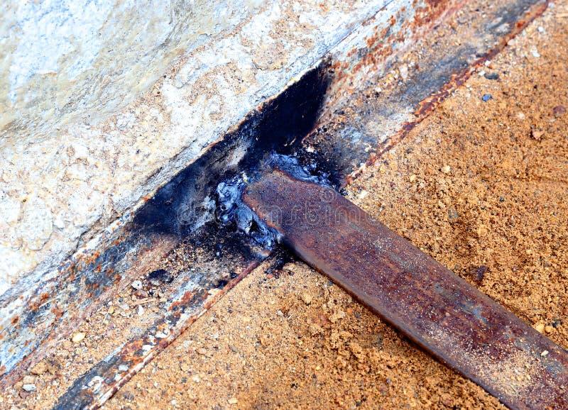 钢角落焊接处  免版税库存图片