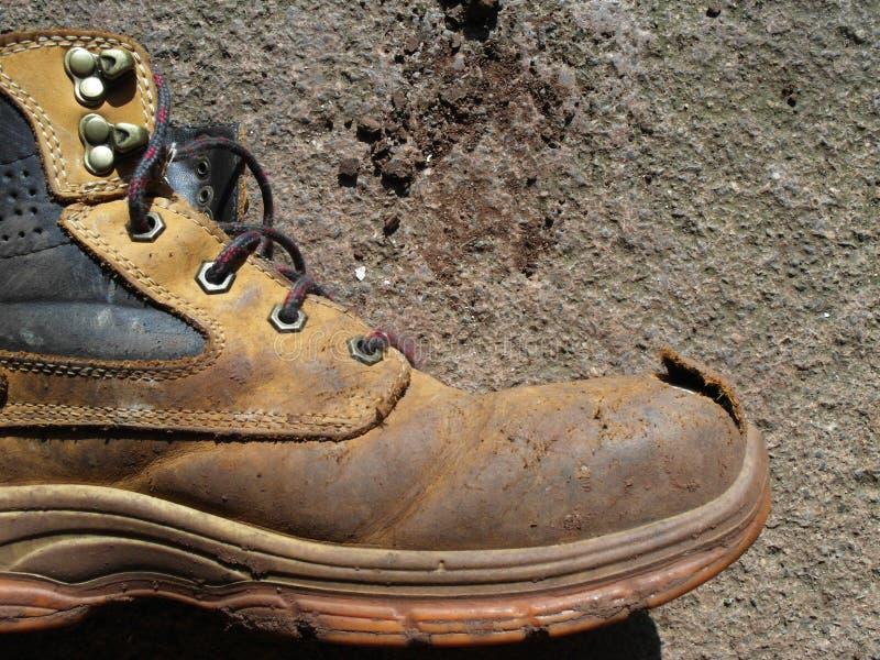 钢趾帽PPE工作靴 免版税库存照片