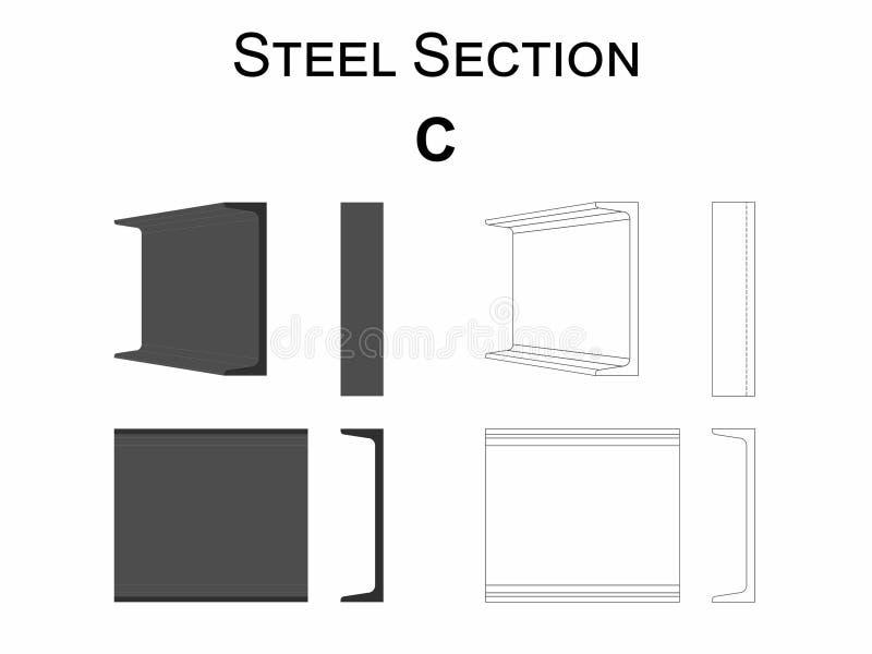 钢部分C 库存例证