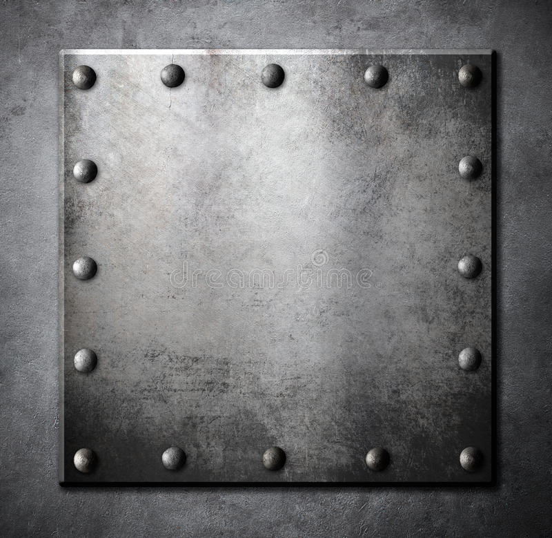 钢金属正方形板材或舱口盖有铆钉的 库存图片