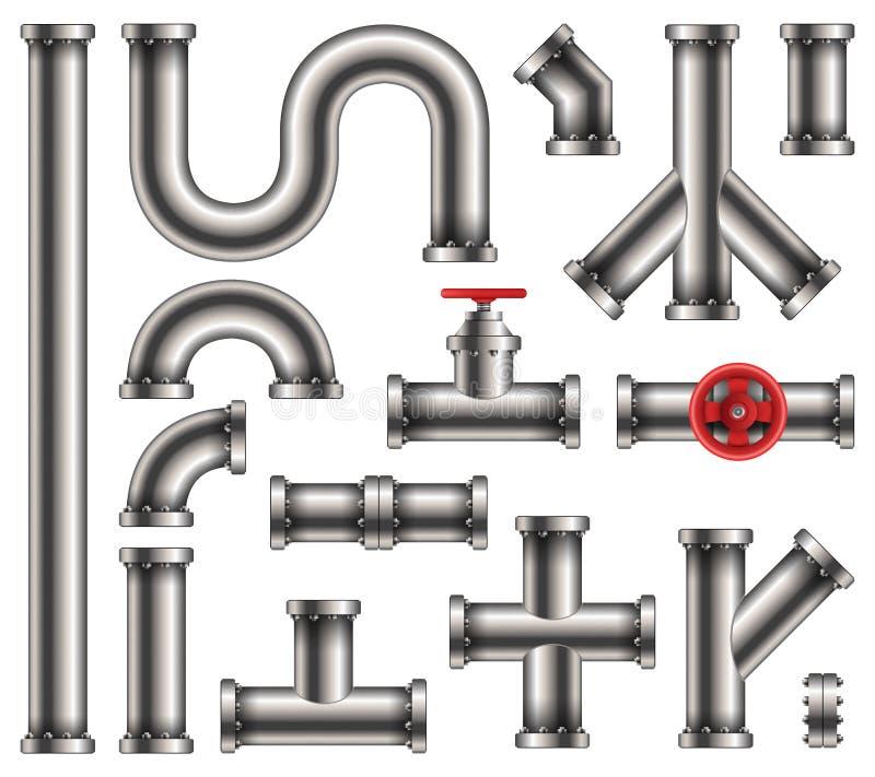 钢金属水,油,气体管道的创造性的传染媒介例证,用管道输送在透明背景隔绝的污水 向量例证
