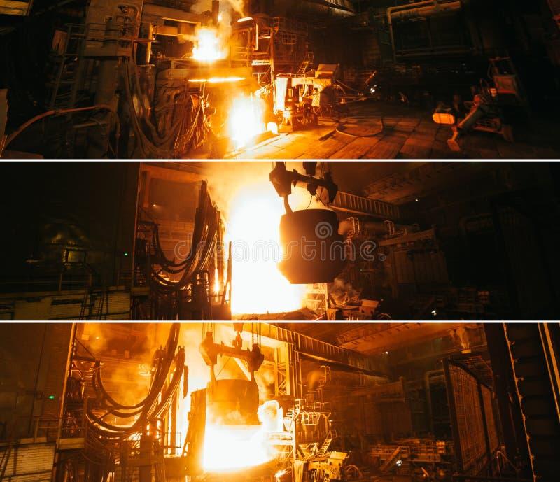 钢铁生产拼贴画在电炉的 免版税库存图片