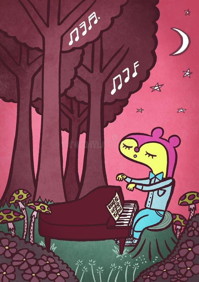 钢琴在森林 库存例证