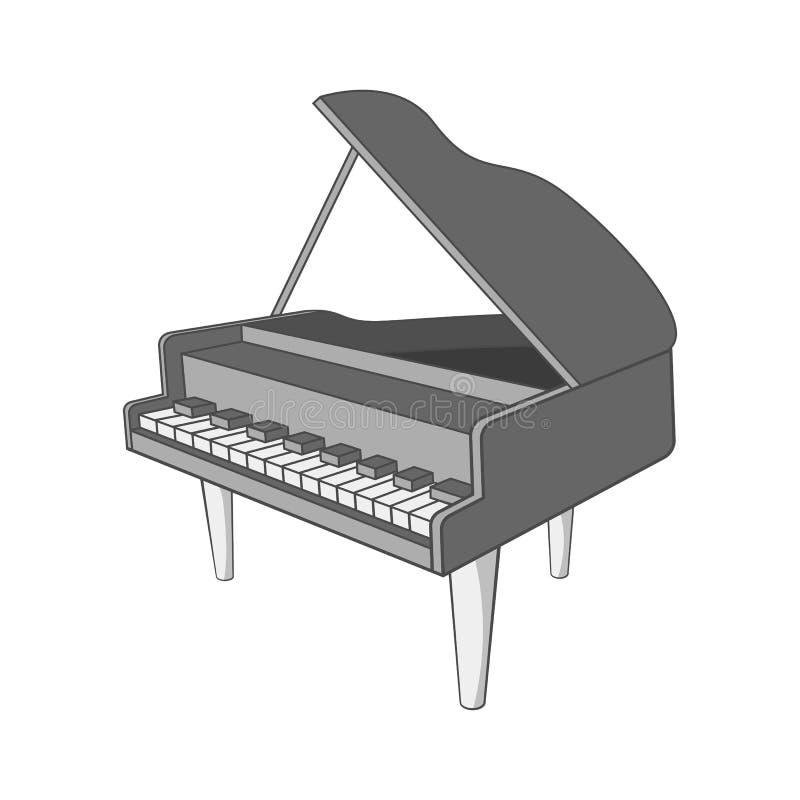 钢琴象,黑单色样式 向量例证