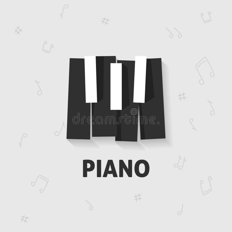钢琴锁上平展黑白的传染媒介,键盘 库存例证