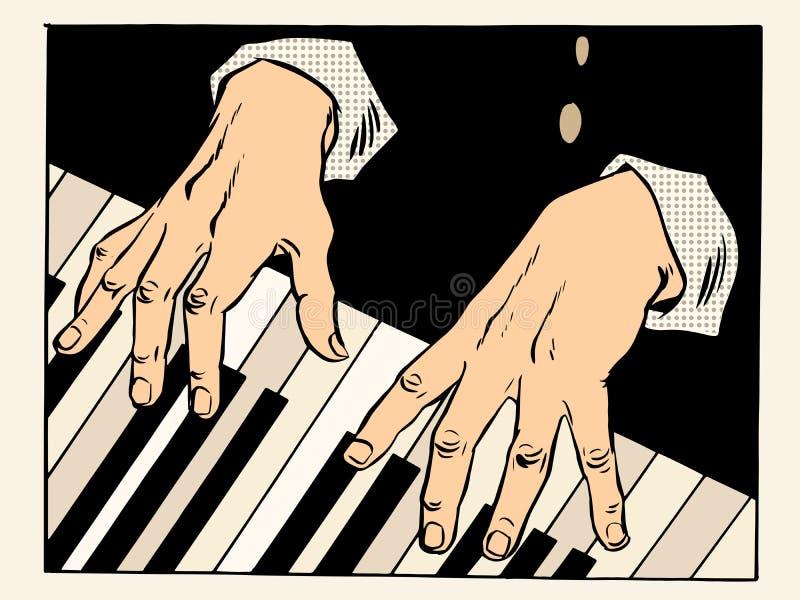 钢琴锁上钢琴演奏家手 向量例证