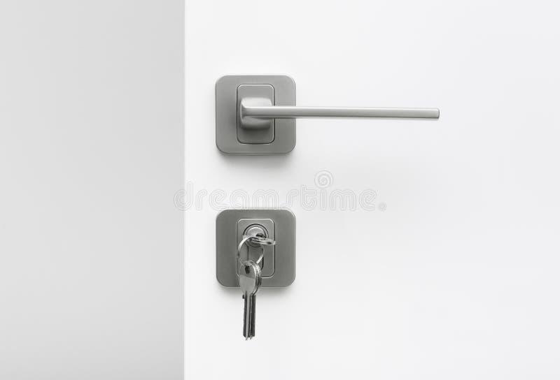 钥匙串在匙孔的 库存照片