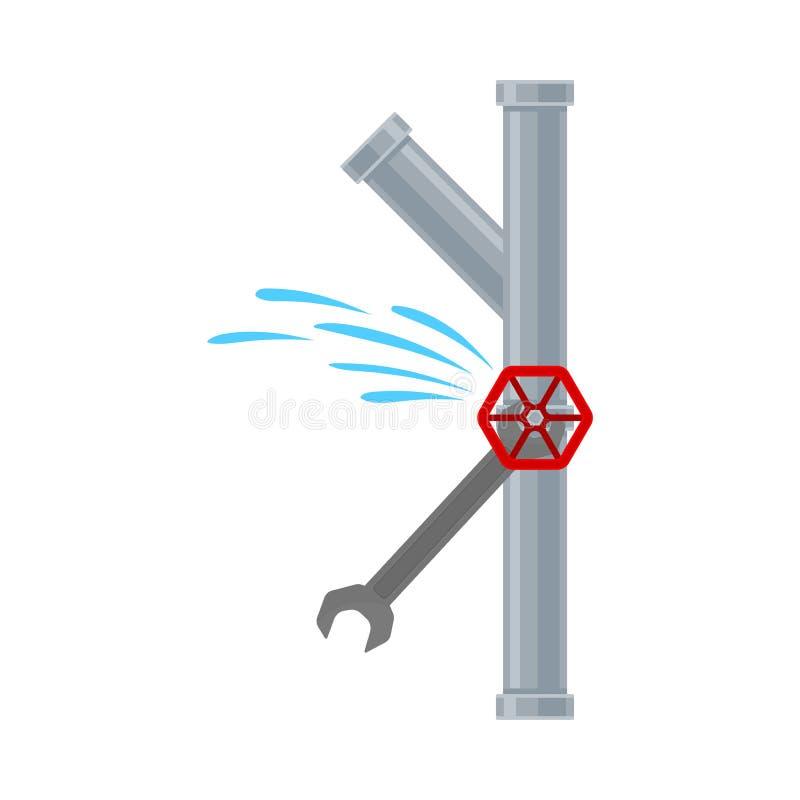 钥匙关闭在管子的泄漏 r 向量例证