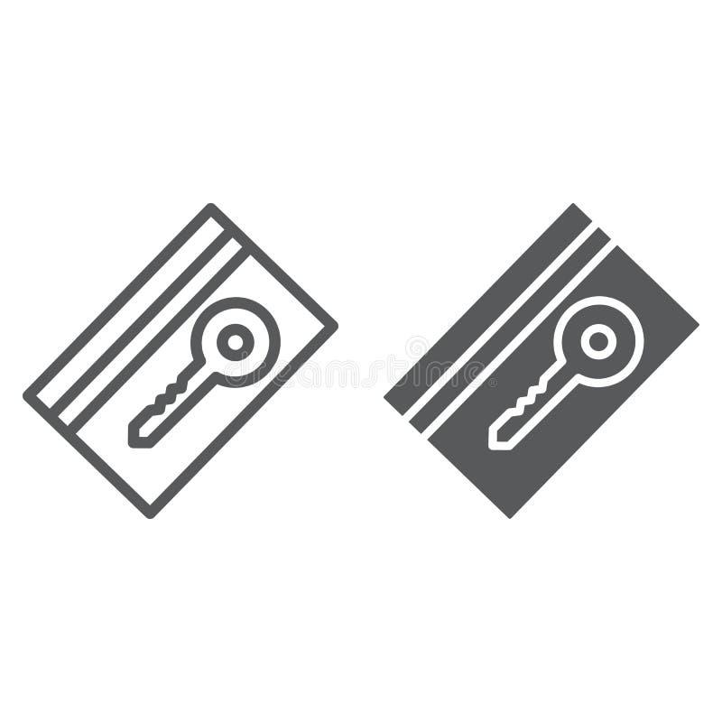 钥匙卡片线和纵的沟纹象、旅馆和通入,电子通行证标志,向量图形,一个线性样式 库存例证