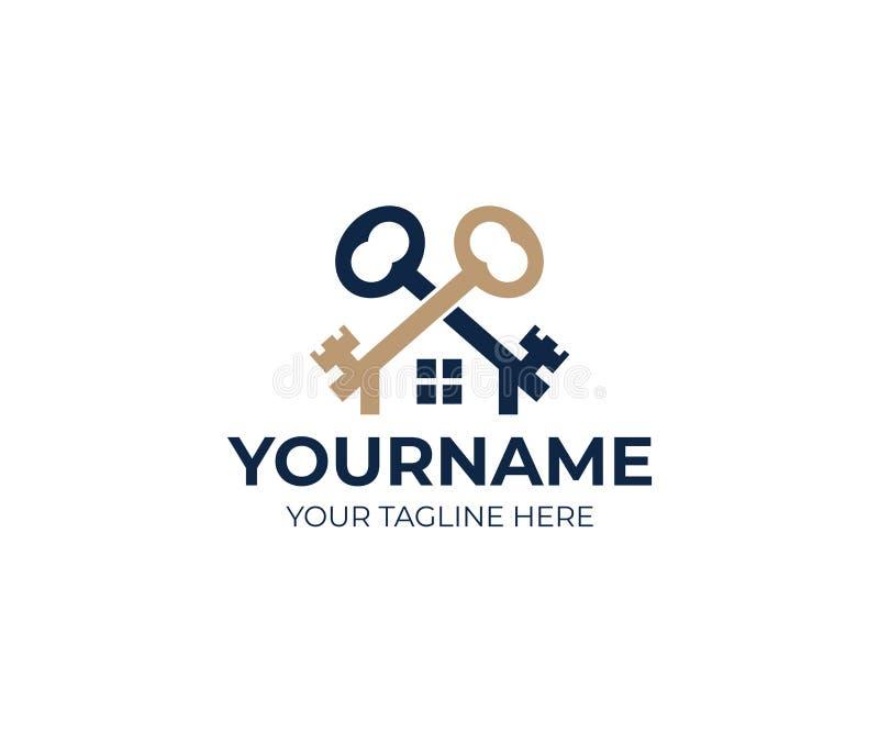 钥匙和房子商标模板 房地产和销售物产传染媒介设计 向量例证
