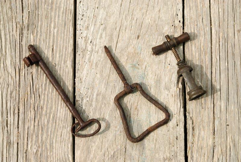 钥匙和拔塞螺旋 库存图片