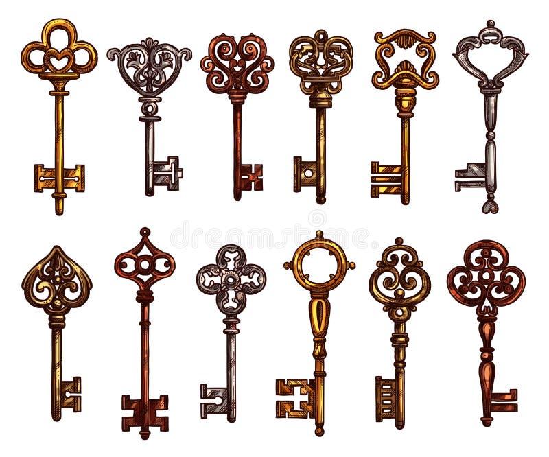 钥匙和葡萄酒骨骼被隔绝的剪影 库存例证