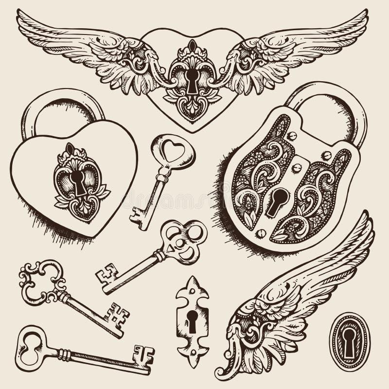 钥匙和锁传染媒介例证 向量例证