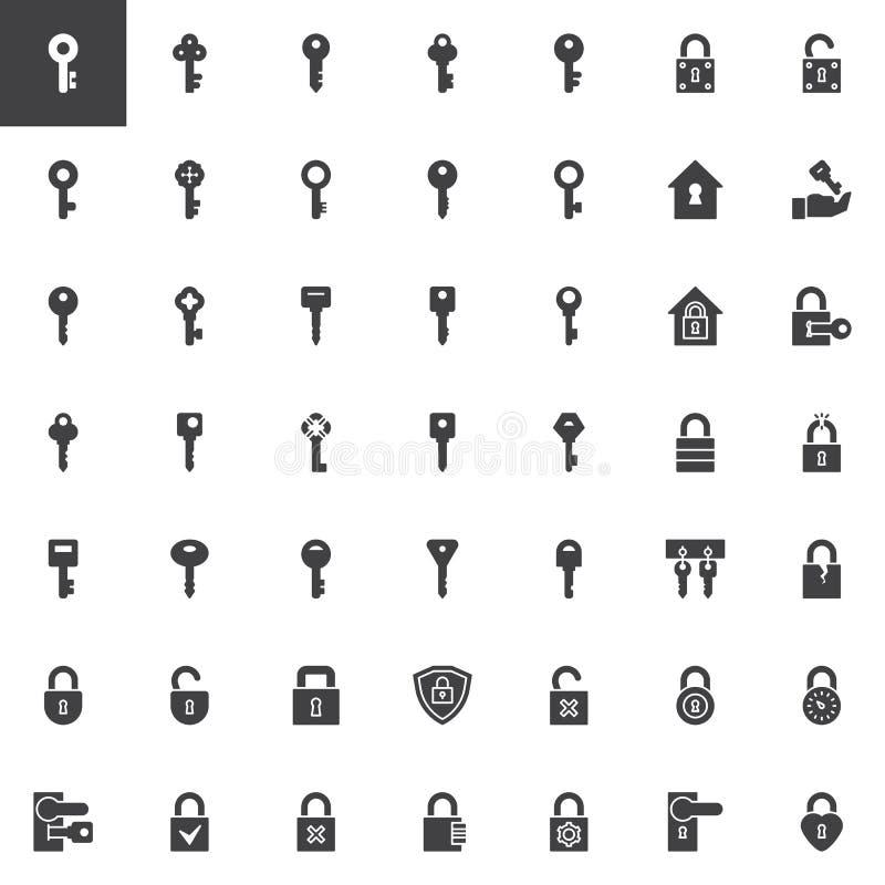 钥匙和锁导航象集合 向量例证