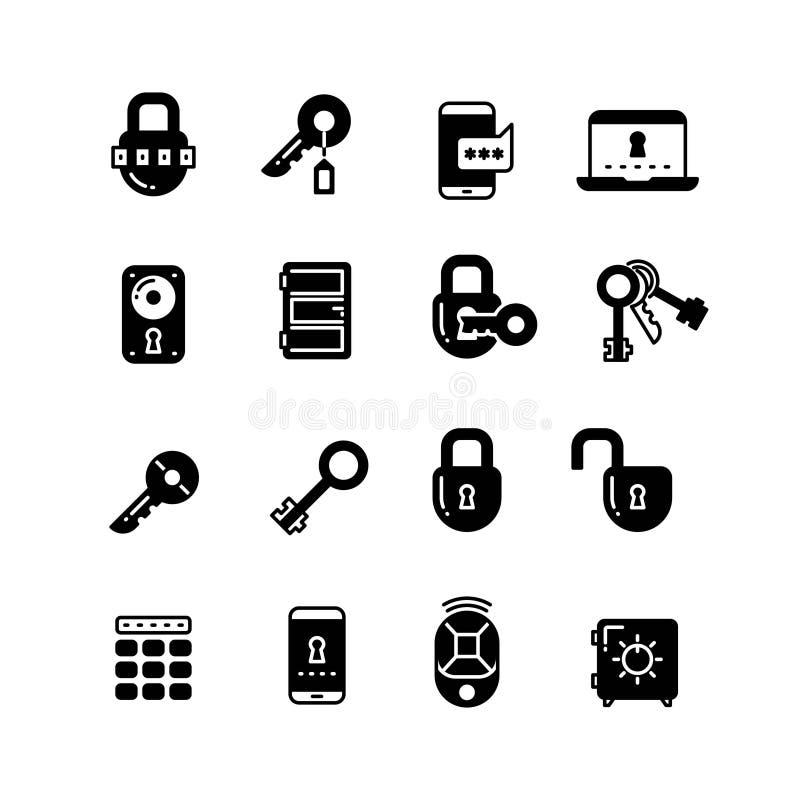 钥匙和锁,网通入安全,安全互联网传染媒介象 皇族释放例证