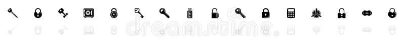 钥匙和锁-平的传染媒介象 皇族释放例证