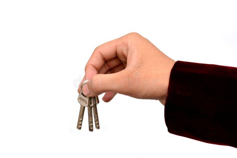 钥匙手中抵押房租概念 库存图片
