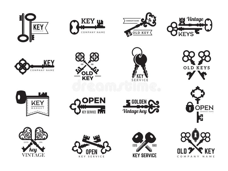 钥匙略写法 不动产徽章门和门通入华丽和现代钢钥匙传染媒介标志剪影  皇族释放例证