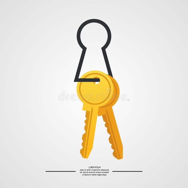 钥匙的例证在白色背景的 皇族释放例证