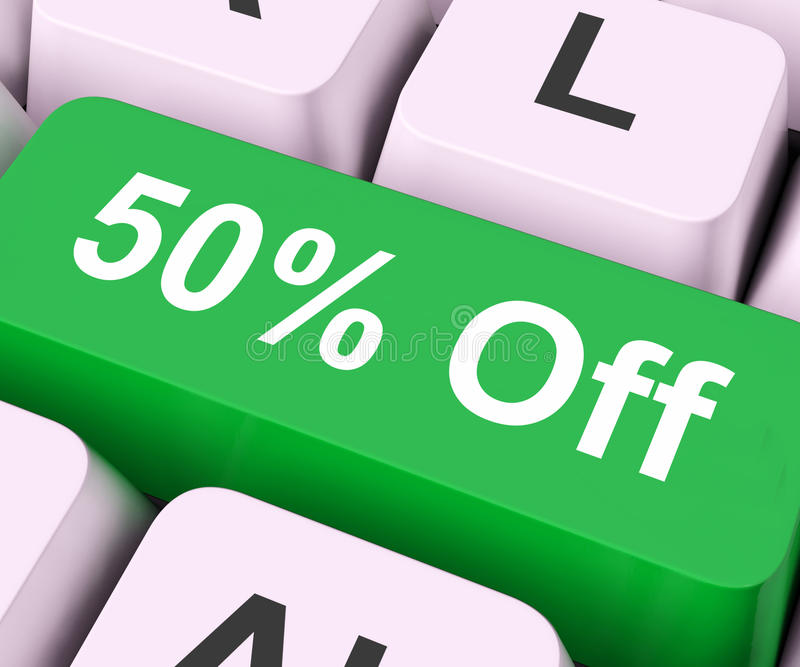 钥匙的百分之五十意味折扣或销售 库存照片