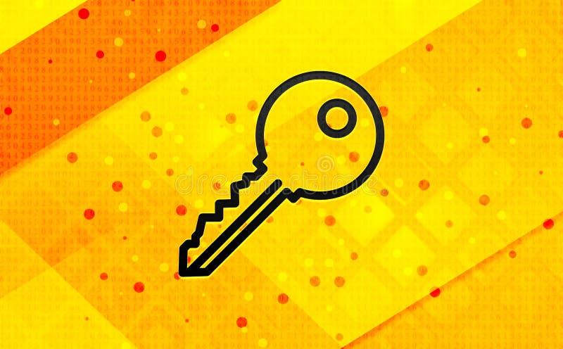 钥匙象摘要数字横幅黄色背景 库存例证