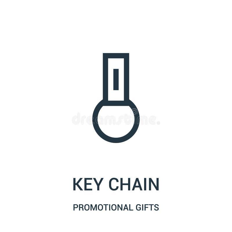 钥匙链从增进礼物收藏的象传染媒介 稀薄的线钥匙链概述象传染媒介例证 线性标志为 皇族释放例证