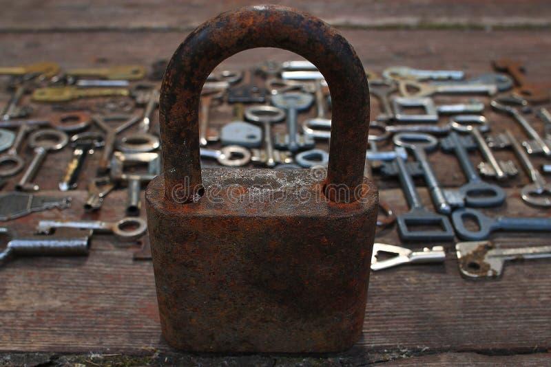 钥匙锁 库存图片