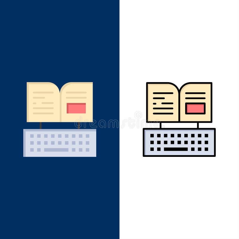 钥匙,键盘,书,Facebook象 舱内甲板和线被填装的象设置了传染媒介蓝色背景 向量例证