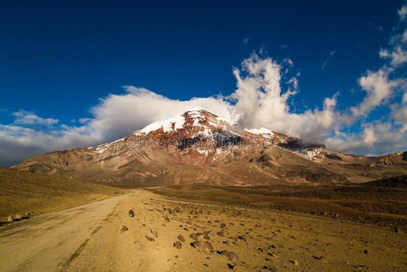 钦博拉索山火山,是庄严的在日落 图库摄影