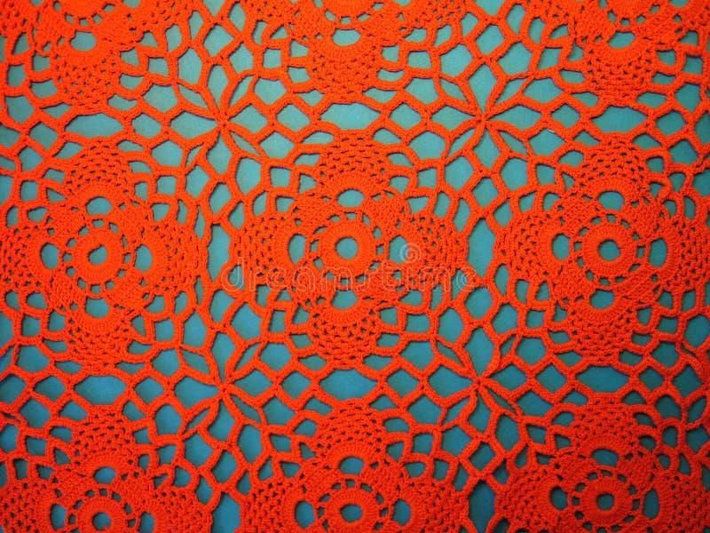 钩编编织物红色纹理,能使用作为背景 库存照片