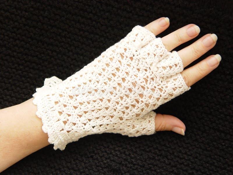 钩针编织的手套 图库摄影